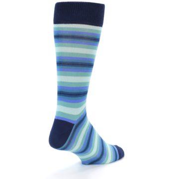 Image of Navy Blues Seafoam Stripe Men's Dress Socks (side-1-back-20)