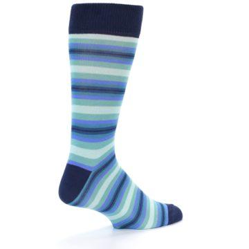 Image of Navy Blues Seafoam Stripe Men's Dress Socks (side-1-back-21)