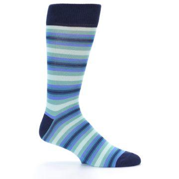 Image of Navy Blues Seafoam Stripe Men's Dress Socks (side-1-24)