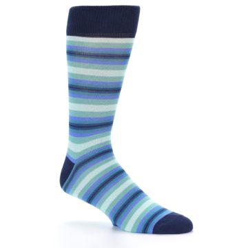 Image of Navy Blues Seafoam Stripe Men's Dress Socks (side-1-25)