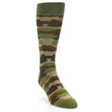 Image of Green Brown Tan Camouflage Men's Dress Socks (side-1-front-02)