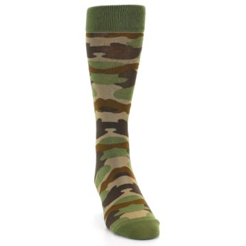 Image of Green Brown Tan Camouflage Men's Dress Socks (side-1-front-03)