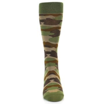 Image of Green Brown Tan Camouflage Men's Dress Socks (front-04)