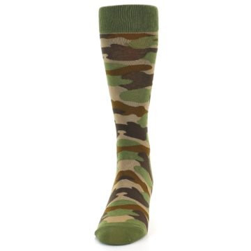 Image of Green Brown Tan Camouflage Men's Dress Socks (front-05)