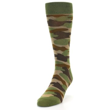 Image of Green Brown Tan Camouflage Men's Dress Socks (side-2-front-06)