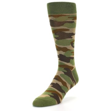 Image of Green Brown Tan Camouflage Men's Dress Socks (side-2-front-07)