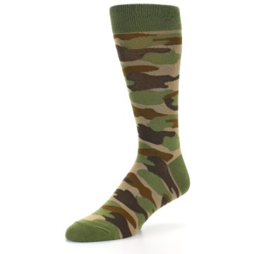 Image of Green Brown Tan Camouflage Men's Dress Socks (side-2-front-08)
