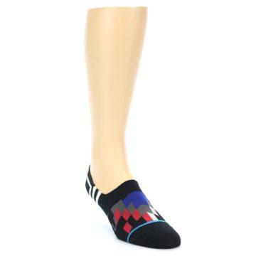 Image of Black White Red Blue Patterned Men's Liner Socks (side-1-front-02)