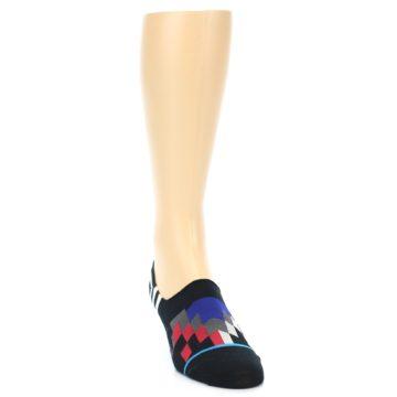 Image of Black White Red Blue Patterned Men's Liner Socks (side-1-front-03)