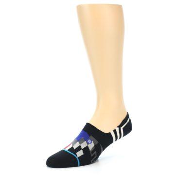 Image of Black White Red Blue Patterned Men's Liner Socks (side-2-09)