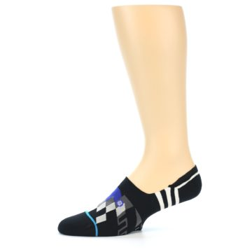 Image of Black White Red Blue Patterned Men's Liner Socks (side-2-11)