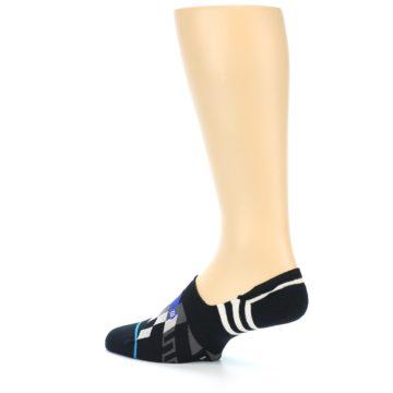 Image of Black White Red Blue Patterned Men's Liner Socks (side-2-13)