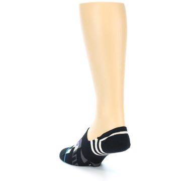 Image of Black White Red Blue Patterned Men's Liner Socks (side-2-back-15)