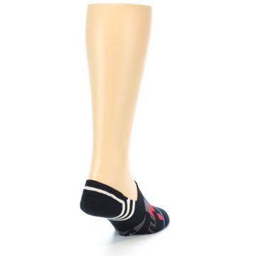Image of Black White Red Blue Patterned Men's Liner Socks (side-1-back-20)