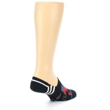 Image of Black White Red Blue Patterned Men's Liner Socks (side-1-back-21)