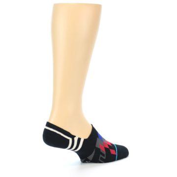 Image of Black White Red Blue Patterned Men's Liner Socks (side-1-back-22)
