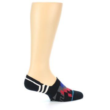 Image of Black White Red Blue Patterned Men's Liner Socks (side-1-23)