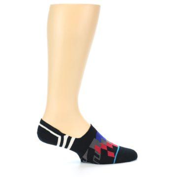 Image of Black White Red Blue Patterned Men's Liner Socks (side-1-24)