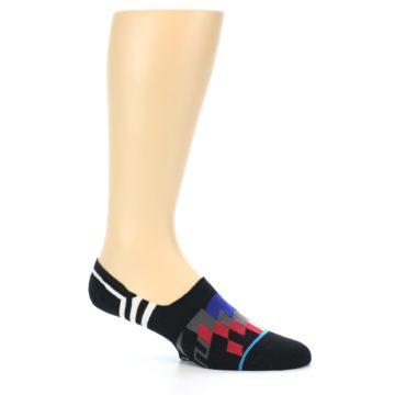 Image of Black White Red Blue Patterned Men's Liner Socks (side-1-25)