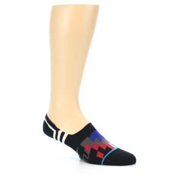 Image of Black White Red Blue Patterned Men's Liner Socks (side-1-26)