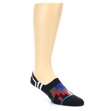Image of Black White Red Blue Patterned Men's Liner Socks (side-1-27)