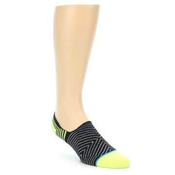 Image of Black White Neon Stripe Men's Liner Socks (side-1-front-01)