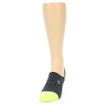 Image of Black White Neon Stripe Men's Liner Socks (side-2-front-06)