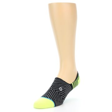 Image of Black White Neon Stripe Men's Liner Socks (side-2-front-08)