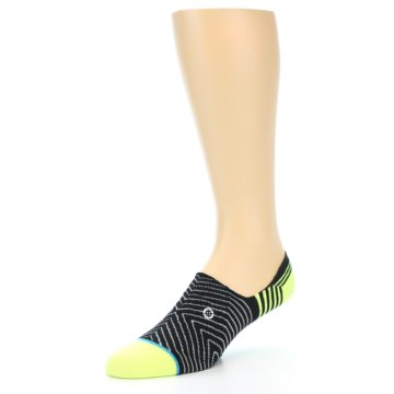 Image of Black White Neon Stripe Men's Liner Socks (side-2-09)