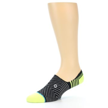 Image of Black White Neon Stripe Men's Liner Socks (side-2-10)