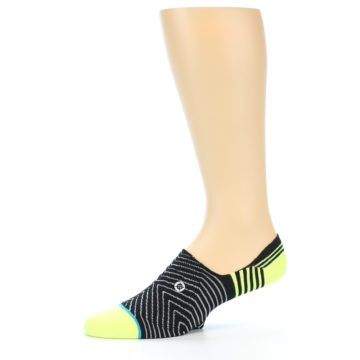 Image of Black White Neon Stripe Men's Liner Socks (side-2-11)