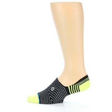 Image of Black White Neon Stripe Men's Liner Socks (side-2-12)