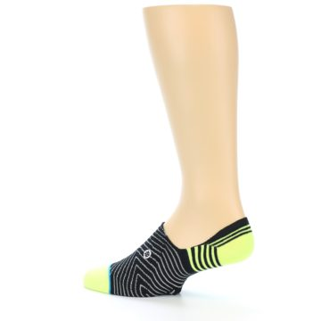 Image of Black White Neon Stripe Men's Liner Socks (side-2-13)