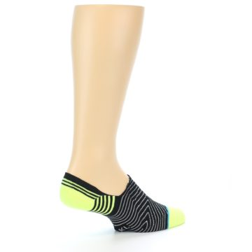 Image of Black White Neon Stripe Men's Liner Socks (side-1-23)