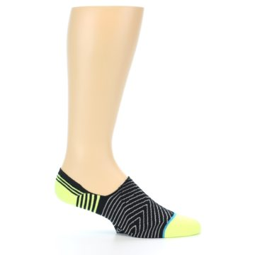 Image of Black White Neon Stripe Men's Liner Socks (side-1-25)