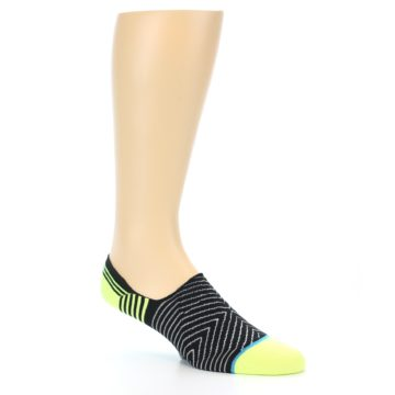 Image of Black White Neon Stripe Men's Liner Socks (side-1-27)