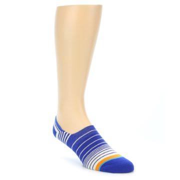 Image of Blue White Orange Stripe Men's Liner Socks (side-1-front-01)
