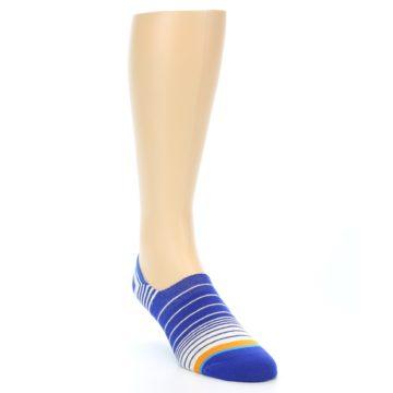 Image of Blue White Orange Stripe Men's Liner Socks (side-1-front-02)