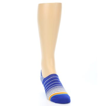 Image of Blue White Orange Stripe Men's Liner Socks (side-1-front-03)