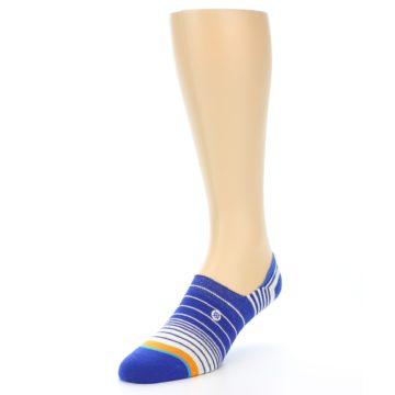 Image of Blue White Orange Stripe Men's Liner Socks (side-2-front-08)