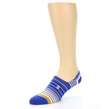 Image of Blue White Orange Stripe Men's Liner Socks (side-2-09)