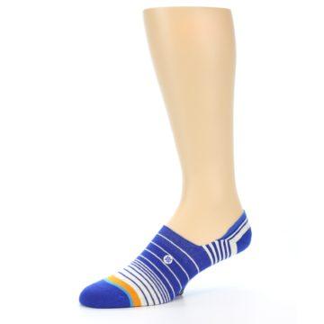 Image of Blue White Orange Stripe Men's Liner Socks (side-2-10)