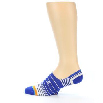 Image of Blue White Orange Stripe Men's Liner Socks (side-2-12)