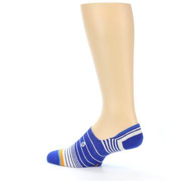 Image of Blue White Orange Stripe Men's Liner Socks (side-2-13)