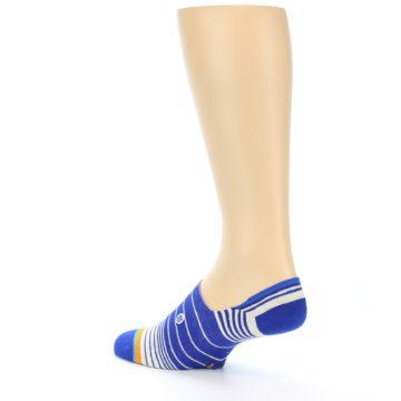 Image of Blue White Orange Stripe Men's Liner Socks (side-2-back-14)