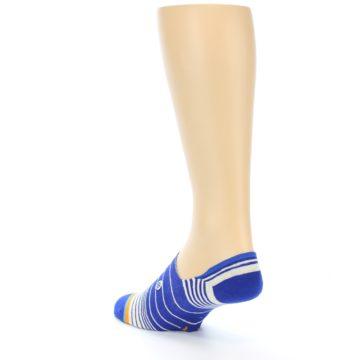 Image of Blue White Orange Stripe Men's Liner Socks (side-2-back-15)