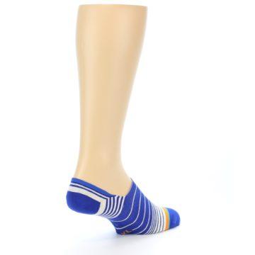 Image of Blue White Orange Stripe Men's Liner Socks (side-1-back-22)