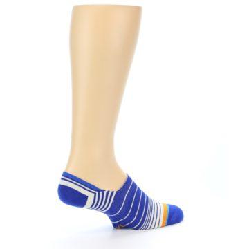 Image of Blue White Orange Stripe Men's Liner Socks (side-1-23)