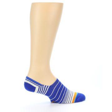 Image of Blue White Orange Stripe Men's Liner Socks (side-1-24)