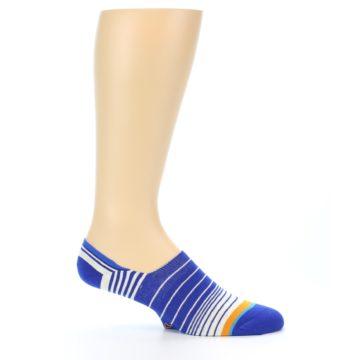 Image of Blue White Orange Stripe Men's Liner Socks (side-1-25)